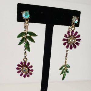 Betsey Johnson Pink Flower Dangle Earrings